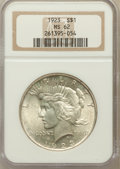 Peace Dollars: , 1923 $1 MS62 NGC. NGC Census: (4537/252632). PCGS Population(11123/163101). Mintage: 30,800,000. Numismedia Wsl. Price for...
