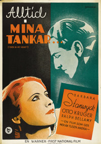 """Ever in My Heart (Warner Brothers, 1933). Swedish One Sheet (27.5"""" X 39.5""""). Directed by Archie Mayo. Starring..."""