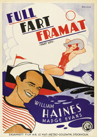 "Fast Life (MGM, 1932). Swedish One Sheet (27.5"" X 39.5""). Directed by Harry A. Pollard. Starring William Haine..."