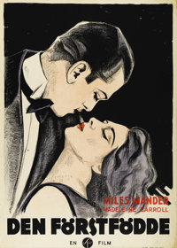 "The First Born (Gainsborough Pictures, 1928). Swedish One Sheet (27.5"" X 39.5""). Directed by Miles Mander. Sta..."