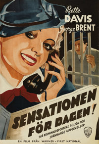 """Front Page Woman (Warner Brothers, 1935). Swedish One Sheet (27.5"""" X 39.5""""). Directed by: Michael Curtiz. Star..."""