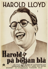 "Harold Lloyd Stock Poster (Paramount, 1933). Swedish One Sheet (27.5"" X 39.5""). The poster shows only slight e..."