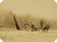 APACHE WICKIUP STRAW HOUSES 1880 C. S. FLY TOMBSTONE, ca 1880s. This imperial size photograph of Apache Wickiup's shows...