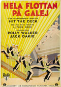 "Movie Posters:Musical, Hit the Deck (RKO, 1930). Swedish One Sheet (27.5"" X 39.5"").Directed by Luther Reed. Starring Jack Oakie, Polly Walker, Rog..."