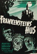 "Movie Posters:Horror, House of Frankenstein (Universal, 1944). Swedish One Sheet (27.5"" X39.5""). Directed by: Erle C. Kenton. Starring Boris Karl..."