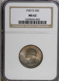 Washington Quarters: , 1932-D 25C MS62 NGC. NGC Census: (262/408). PCGS Population(368/1106). Mintage: 436,800. Numismedia Wsl. Price for NGC/PCG...