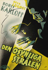 """The Invisible Ray (Universal, 1935). Swedish One Sheet (27.5"""" X 39.5""""). Directed by: Lambert Hillyer. Starring..."""