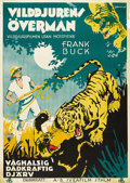 "Movie Posters:Documentary, Jungle Cavalcade (RKO, 1941). Swedish One Sheet (27.5"" X 39.5""). Directed by William Ament. Starring Frank Buck. There is ed..."