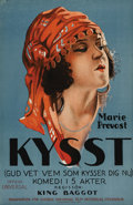 "Movie Posters:Comedy, Kissed (Universal, 1922). Swedish One Sheet (22.5"" X 35.5"").Directed by: King Baggot. Starring Marie Prevost. This gorgeous..."