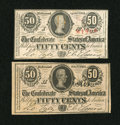 Confederate Notes:1863 Issues, Two 50 Cent Notes.. ... (Total: 2 notes)