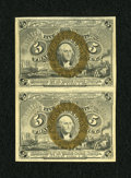 Fractional Currency:Second Issue, Fr. 1233 5c Second Issue Uncut Vertical Pair Choice New....