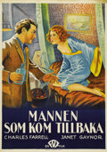 """Movie Posters:Drama, The Man Who Came Back (Fox, 1931). Swedish One Sheet (27.5"""" X39.5""""). Directed by Raoul Walsh. Starring Charles Farrell and ..."""