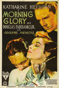 "Movie Posters:Drama, Morning Glory (RKO, 1933). Swedish One Sheet (27.5"" X 39.5"").Directed by Lowell Sherman. Starring Katharine Hepburn, Dougla..."