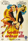 "Movie Posters:Comedy, My Man Godfrey (Universal, 1936). Swedish One Sheet (27.5"" X39.5""). Directed by Gregory La Cava. Starring William Powell, C..."