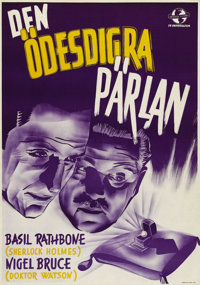 """Pearl of Death (Universal, 1944). Swedish One Sheet (27.5"""" X 39.5""""). Directed by Roy William Neill. Starring B..."""
