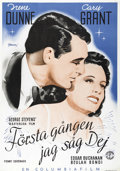 """Movie Posters:Drama, Penny Serenade (Columbia, 1941). Swedish One Sheet (27.5"""" X 39.5"""").Directed by George Stevens. Starring Irene Dunne and Car..."""