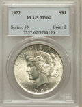 Peace Dollars: , 1922 $1 MS62 PCGS. PCGS Population (9368/100762). NGC Census:(5660/161632). Mintage: 51,737,000. Numismedia Wsl. Price for...