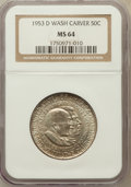 Commemorative Silver: , 1953-D 50C Washington-Carver MS64 NGC. NGC Census: (244/171). PCGSPopulation (544/297). Mintage: 8,003. Numismedia Wsl. Pr...