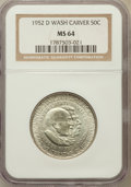 Commemorative Silver: , 1952-D 50C Washington-Carver MS64 NGC. NGC Census: (213/228). PCGS Population (486/343). Mintage: 8,006. Numismedia Wsl. Pr...