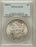 Morgan Dollars: , 1883-S $1 AU55 PCGS. PCGS Population (678/3106). NGC Census:(732/2342). Mintage: 6,250,000. Numismedia Wsl. Price for prob...
