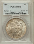 Morgan Dollars: , 1903 $1 MS65 PCGS. PCGS Population (2775/911). NGC Census:(2276/580). Mintage: 4,652,755. Numismedia Wsl. Price for proble...