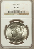 Peace Dollars: , 1935 $1 MS64 NGC. NGC Census: (2002/804). PCGS Population(2223/944). Mintage: 1,576,000. Numismedia Wsl. Price forproblem...
