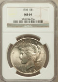 Peace Dollars: , 1935 $1 MS64 NGC. NGC Census: (2001/804). PCGS Population(2221/943). Mintage: 1,576,000. Numismedia Wsl. Price forproblem...