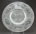 Silver Holloware, Continental, A JUDAICA SILVER SEDER CHARGER . Maker unknown, circa 1900. Unmarked. 18-1/2 inches diameter (47.0 cm). 25.3 ounces. ...