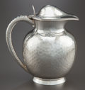 Silver Holloware, American:Pitchers, A GORHAM HAND-HAMMERED SILVER WATER PITCHER. Gorham ManufacturingCo., Providence, Rhode Island, circa 1886. Marks: (lion-an...
