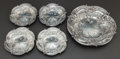 Silver Holloware, American:Plates, A FIVE-PIECE SET OF REED & BARTON SILVER NUT DISHES . Reed& Barton, Taunton, Massachusetts, circa 1932. Marks:(eagle-R-lio... (Total: 5 )