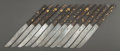 Silver Flatware, Japanese:Flatware, A CASED SET OF JAPANESE MIXED METAL KNIVES. Maker unidentified,Japan, circa 1880. Marks: (undeciphered mark). 8-1/4 inches ...(Total: 12 Items)