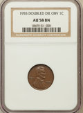 Lincoln Cents, 1955 1C Doubled Die Obverse AU58 NGC. FS-101....