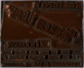 Autographs:Artists, [Printing Block]. Tobacco Advertisement for Redford's 'Broken Leaf' Mixture. 19th century metal on wood block. Measu...