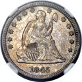 Seated Quarters, 1845/845 25C MS64 NGC. FS-301....