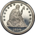 Proof Seated Quarters, 1890 25C PR65+ Deep Cameo PCGS. CAC....