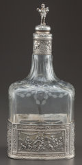 Silver Holloware, Continental:Holloware, A HANAU SILVER MOUNTED GLASS DECANTER . Attributed to B.Neresheimer & Söhne, Hanau, Germany, circa 1900. Marks:(fleur-de-l...
