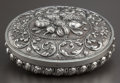 Silver Holloware, Continental:Holloware, A CONTINENTAL SILVER REPOUSSÉ BOX . Maker unidentified, circa 1880.Marks: (effaced mark). 2-5/8 x 4-1/2 x 3-5/8 inches (6.7...