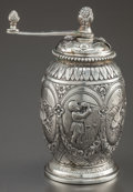 Silver Holloware, Continental:Holloware, A GERMAN SILVER PEPPER GRINDER . Maker unknown, circa 1890. Marks:(crescent, crown), 800, B & Z. 4 inches high (10.2 cm...