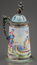 Decorative Arts, Continental:Other , A CONTINENTAL SILVER AND PAINTED ENAMEL MINIATURE STEIN. Makerunidentified, circa 1900. Marks: A, (partially effaced ma...