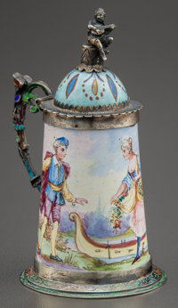 A CONTINENTAL SILVER AND PAINTED ENAMEL MINIATURE STEIN Maker unidentified, circa 1900 Marks: A, (pa