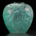 Art Glass:Lalique, AN R. LALIQUE GLASS PERRUCHES VASE. Lalique, France, circa1919. Marks: R. LALIQUE (molded). 10-1/2 inches h...