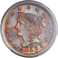Half Cents, 1853 1/2 C MS65 Red and Brown PCGS. C-1, B-1, R.1....