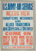 "Military & Patriotic:WWI, WWI U.S. Army Air Service Poster ""Come On Help Win the War""...."