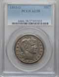 Barber Half Dollars: , 1893-O 50C AU58 PCGS. PCGS Population (24/120). NGC Census:(15/128). Mintage: 1,389,000. Numismedia Wsl. Price for problem...