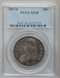 Bust Half Dollars: , 1827/6 50C XF40 PCGS. PCGS Population (21/145). NGC Census: (2/78).Numismedia Wsl. Price for problem free NGC/PCGS coin i...