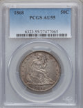 Seated Half Dollars: , 1868 50C AU55 PCGS. PCGS Population (5/31). NGC Census: (4/23).Mintage: 417,600. Numismedia Wsl. Price for problem free NG...