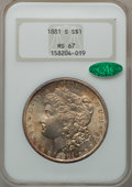 Morgan Dollars: , 1881-S $1 MS67 NGC. CAC. NGC Census: (3954/198). PCGS Population(1633/101). Mintage: 12,760,000. Numismedia Wsl. Price for...