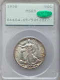 Walking Liberty Half Dollars: , 1938 50C MS65 PCGS. CAC. PCGS Population (1174/590). NGC Census:(752/316). Mintage: 4,118,152. Numismedia Wsl. Price for p...