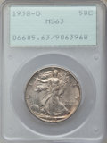 Walking Liberty Half Dollars: , 1938-D 50C MS63 PCGS. PCGS Population (285/1984). NGC Census:(108/907). Mintage: 491,600. Numismedia Wsl. Price for proble...