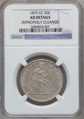 Seated Half Dollars: , 1875-CC 50C -- Improperly Cleaned -- NGC Details. AU. NGC Census:(3/93). PCGS Population (13/114). Mintage: 1,008,000. Num...